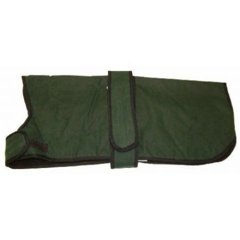 "26"" Green Waxed Dog Coat Water Resistant and Fleece Lined Sale Price RRP £29.99"